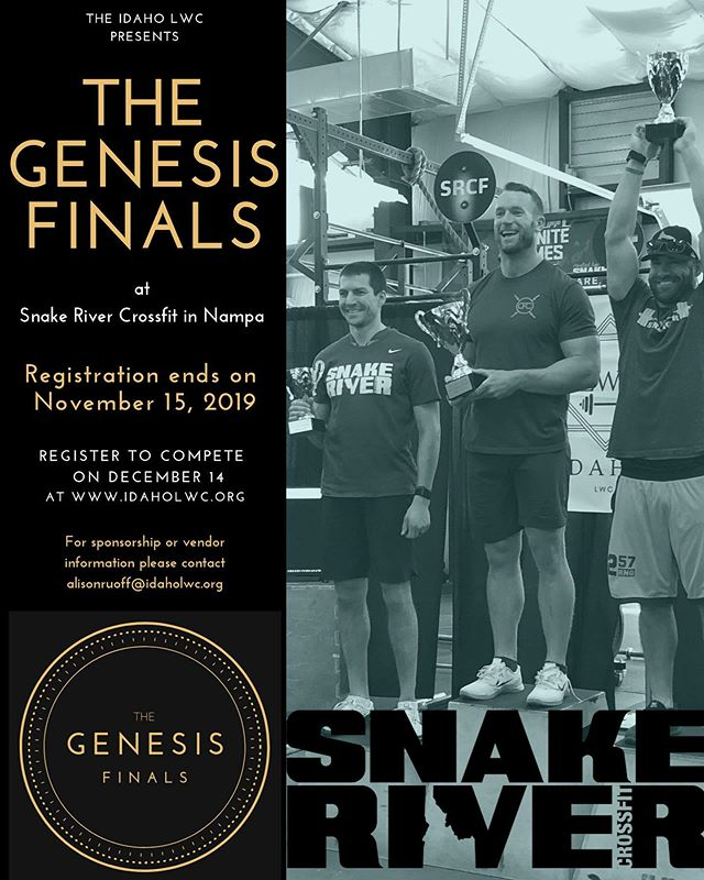To better serve our CrossFit and Weightlifting communities, The Genesis Finals will be held on December 14th at Snake River CrossFit in Nampa.  Registration is now open through November 15th.  Click the link in our bio to register and  view the top ranked Idaho athletes from this series.  #idaholwc #genesisfinals