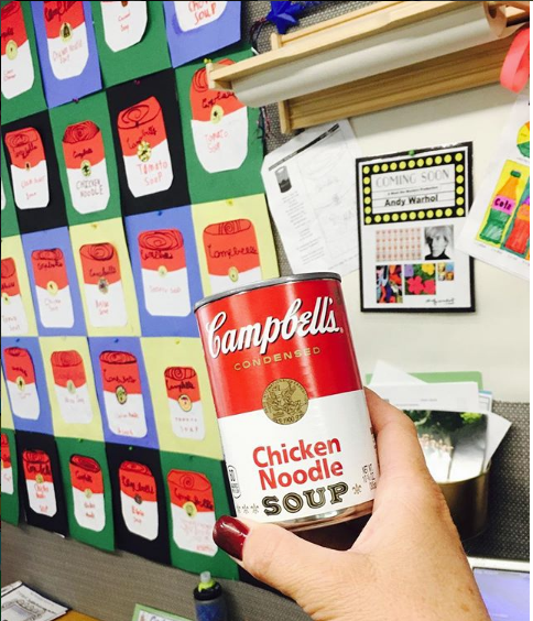 Mrs. Hatfield's class created andy warhol's iconic campbell soup art.