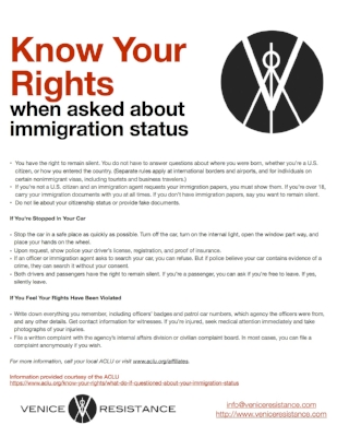 KNOW YOUR RIGHTS WHEN ASKED ABOUT IMMIGRATION STATUS (ACLU)