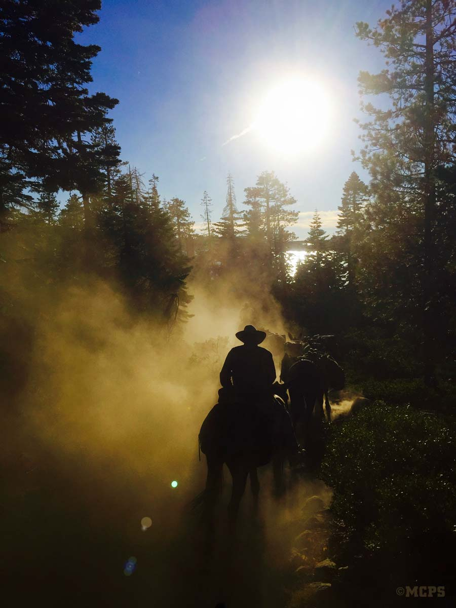 Sierra sunset: A pack string returns to McGee Creek Pack Station late on a high country afternoon