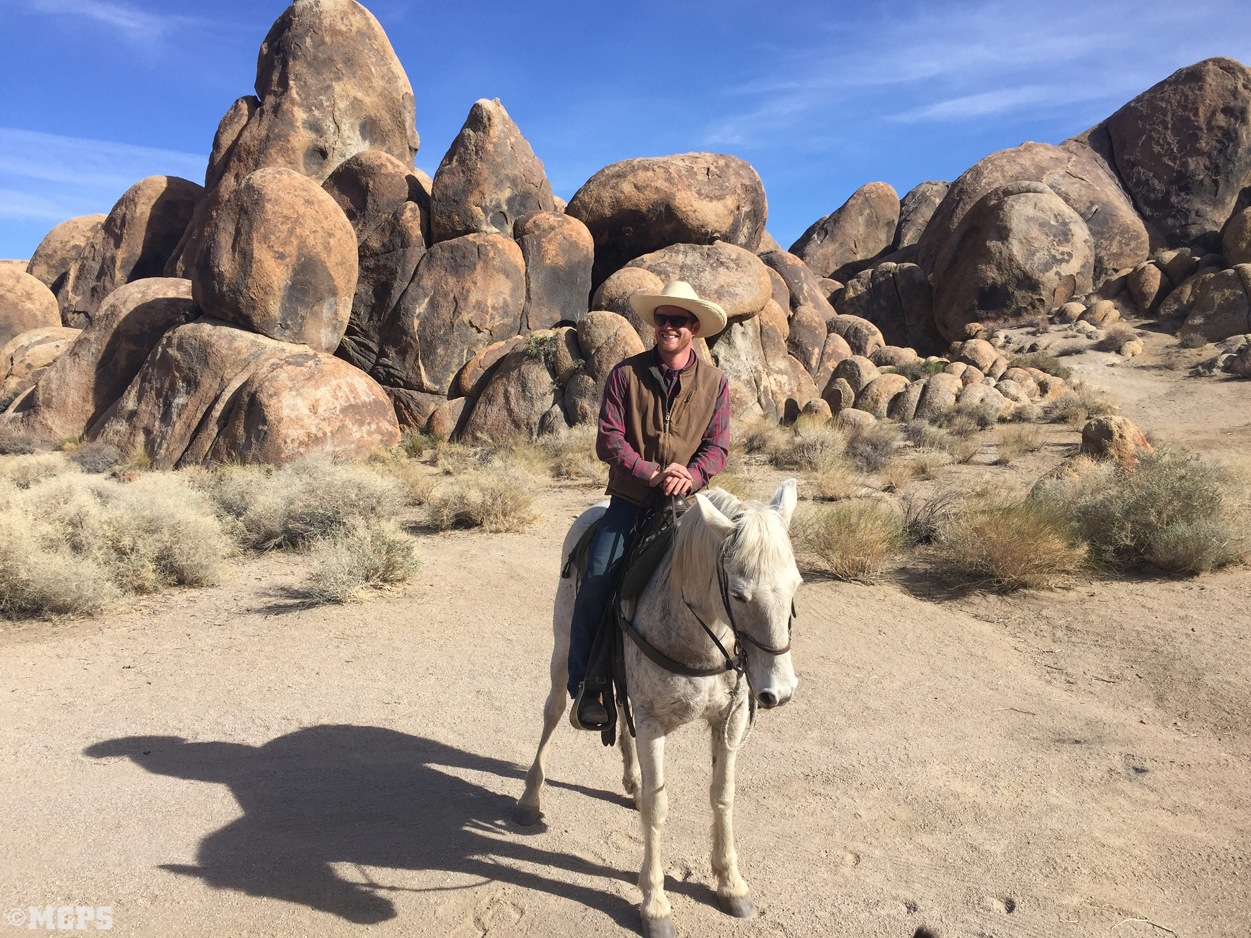 A happy horseman in the Alabama Hills
