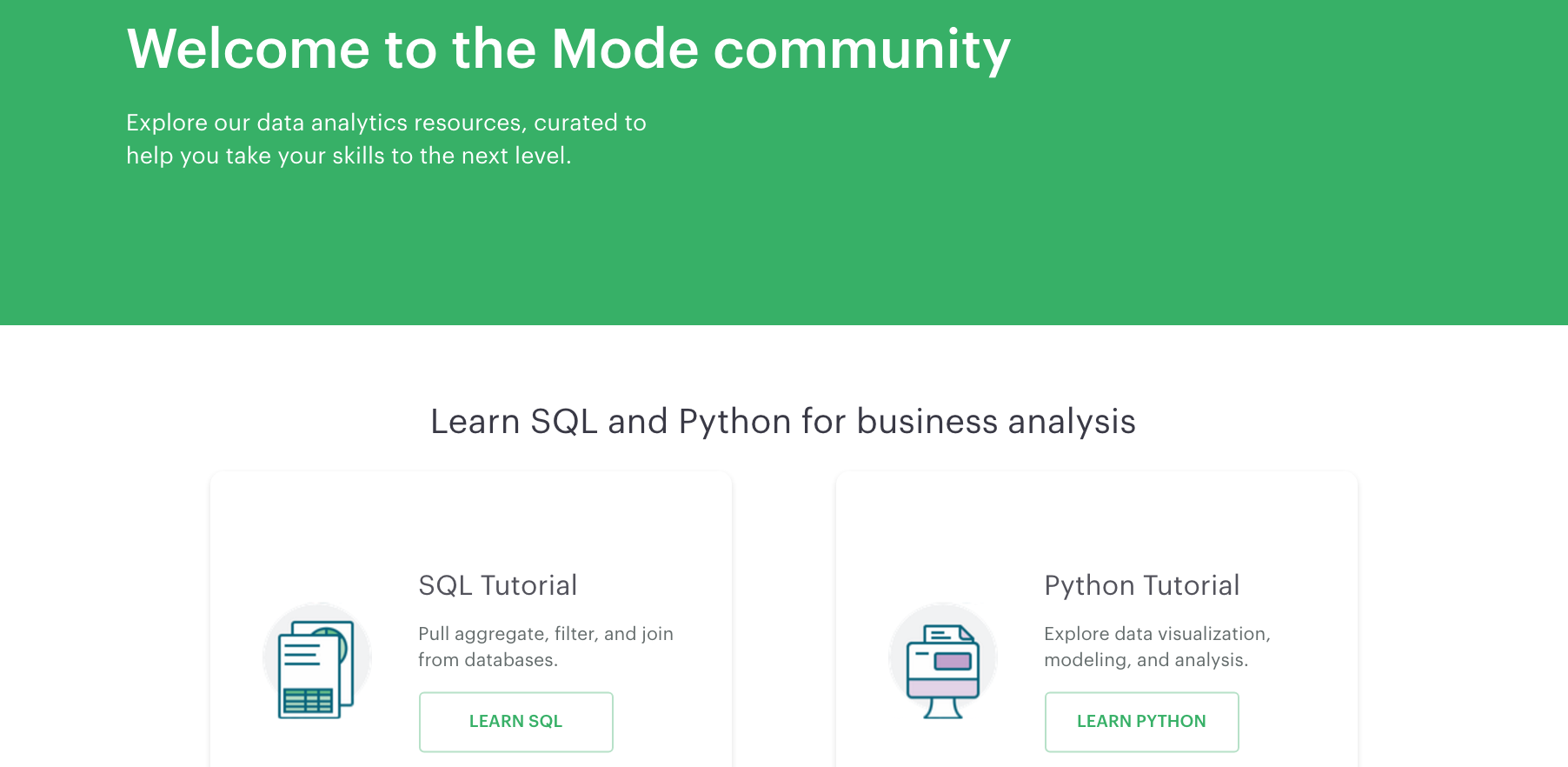 Mode Analytics addresses user drop-off with their tutorials.