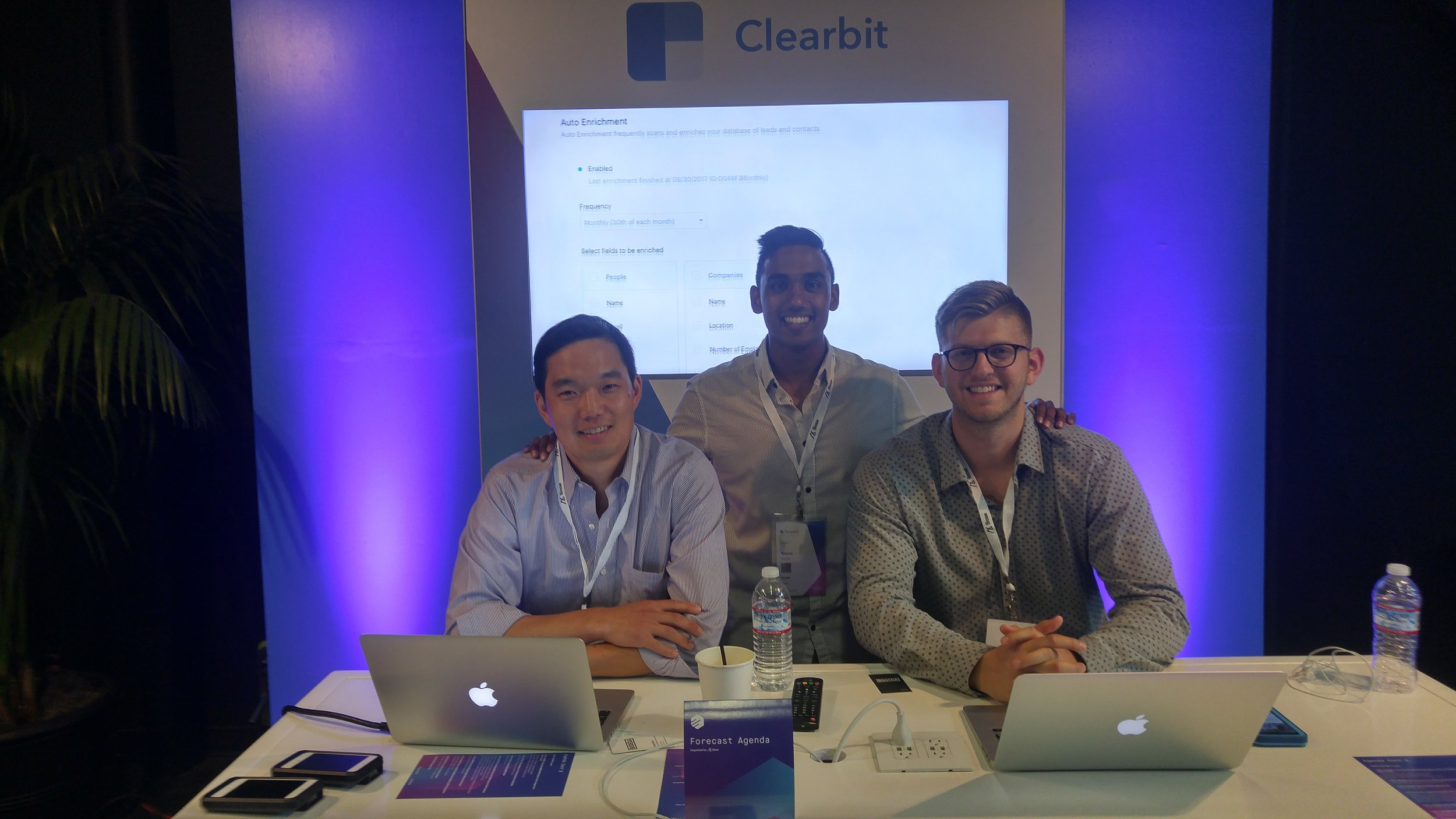 Action shot of the Clearbit sales team and I at Base CRM's annual conference.