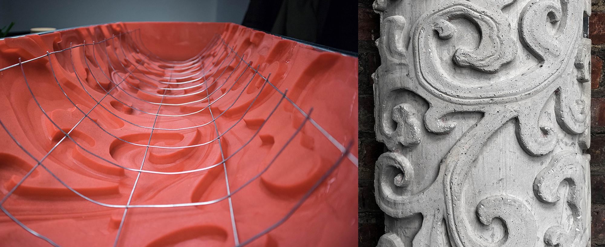A mold 3D printed by EDG, to produce the column on the right. Photos via EGD.