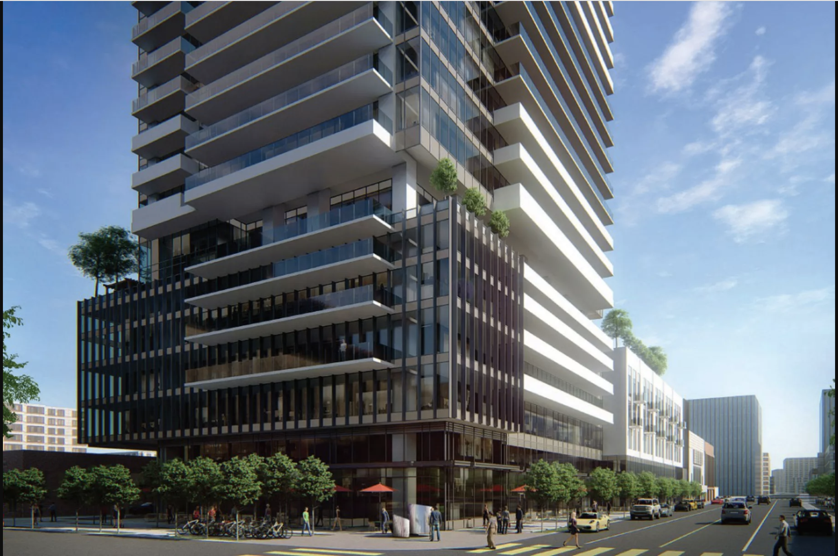 The tower would include 700 apartments and 15,000 square feet of commercial space. Renderings via Department of City Planning