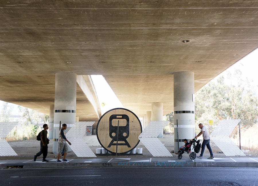In the Go Ave 26 project, LA-Más spruced up a multimodal transportation hub near the Lincoln/Cypress metro station, improving visual clarity and pedestrian safety. Photo courtesy of LA Más.