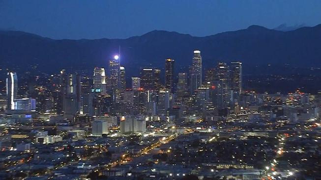 A view of downtown Los Angeles before sunrise on Jan. 21, 2019.