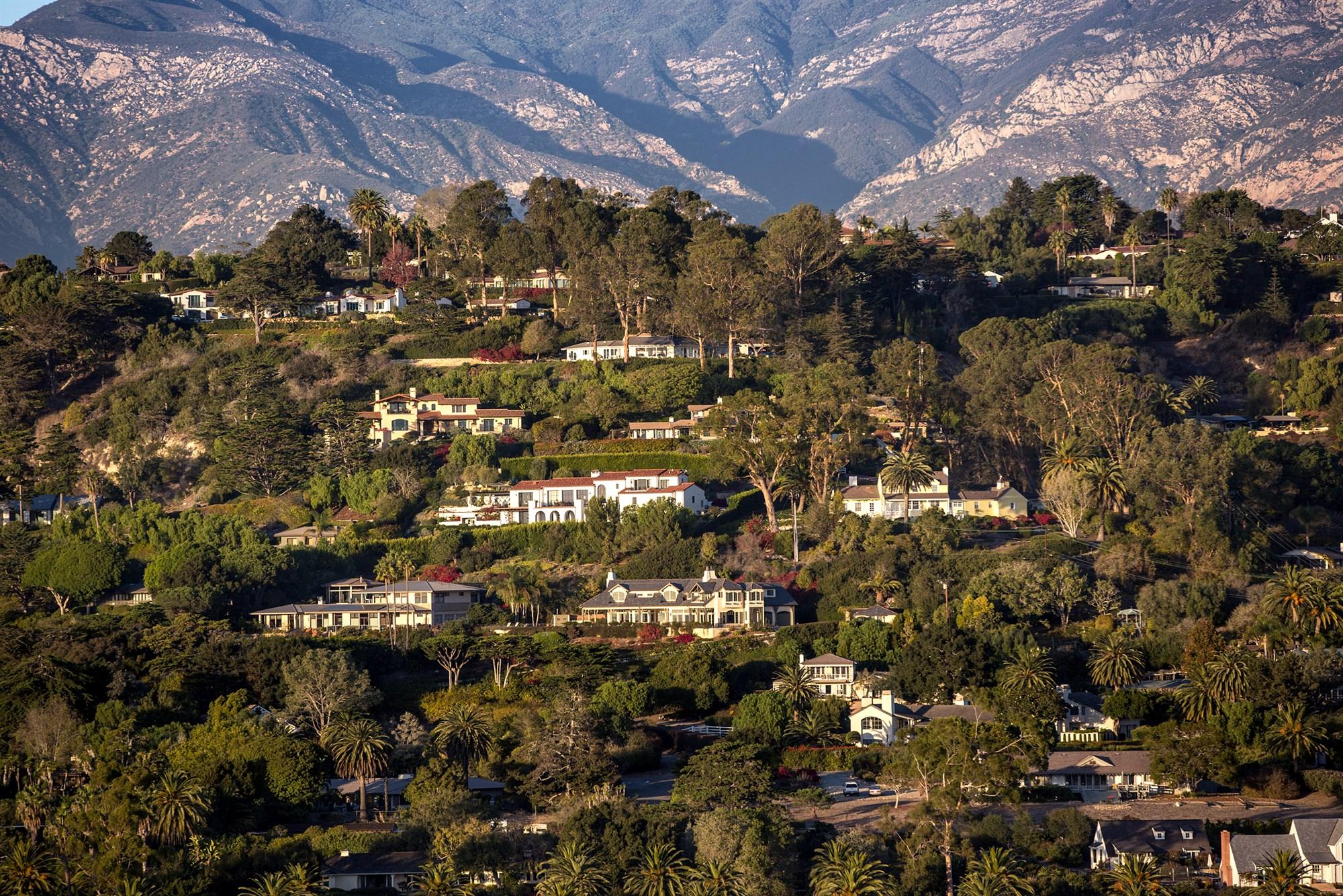 The exclusive Hope Ranch area on Dec. 4, 2017, over Santa Barbara, California.