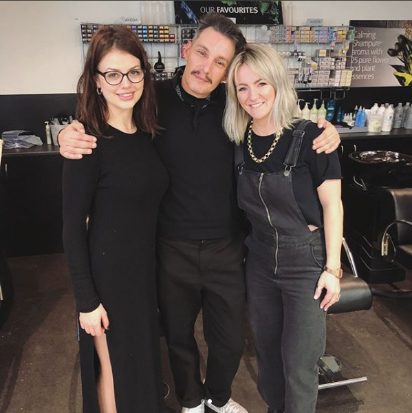 Georgia and Gemma with Aveda Global Colour Director Ian Michael Black