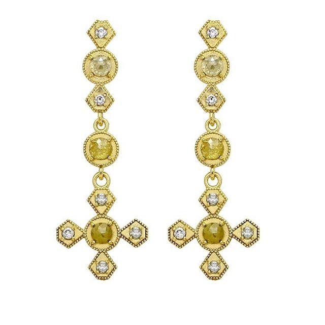Drooling over these earrings!! Rustic rose cut diamonds with full cut diamonds encrusted in 18k yellow gold.  #rawelegance #rusticdiamonds #rosecutdiamond #18k #18kgold #designer #designerjewelry #elegantjewelry #heirloom #redcarpet #celebrityjeweler #madeinla #santamonica #malibu #beadedjewelry #750gold #creative #earrings #dangling #jewelryporn #amynthejeweler #newdesign #jewelrystore