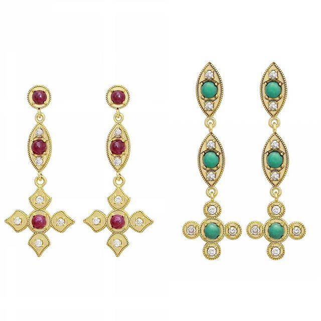Super Bowl!! Patriots-Ruby with diamonds encrusted in 18k yellow gold.  Rams-Turquoise with diamonds encrusted in 18k yellow gold.  #elegance #ruby #turquoise #superbowl53 #newenglandpatriots #larams #patriots #rams #diamonds #18k #18kgold #designer #designerjewelry #elegantjewelry #heirloom #redcarpet #celebrityjeweler #madeinla #santamonica #malibu #beadedjewelry #750gold #creative #earrings #dangling #jewelryporn #amynthejeweler #newdesign #jewelrystore