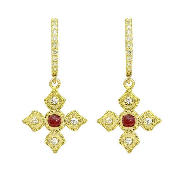 LOVE these earrings on LOVE DAY.....Happy Valentines Day!! Ruby and diamond pendants dangling from diamond hoop earrings set in 18k yellow gold.  #elegance #ruby #valentines #diamondhoops #stylish #love #diamonds #18k #18kgold #designer #designerjewelry #elegantjewelry #heirloom #fashionstylist #styleblogger #fashionblogger #redcarpet #celebrityjeweler #madeinla #santamonica #malibu #beadedjewelry #750gold #creative #earrings #dangling #jewelryporn #amynthejeweler