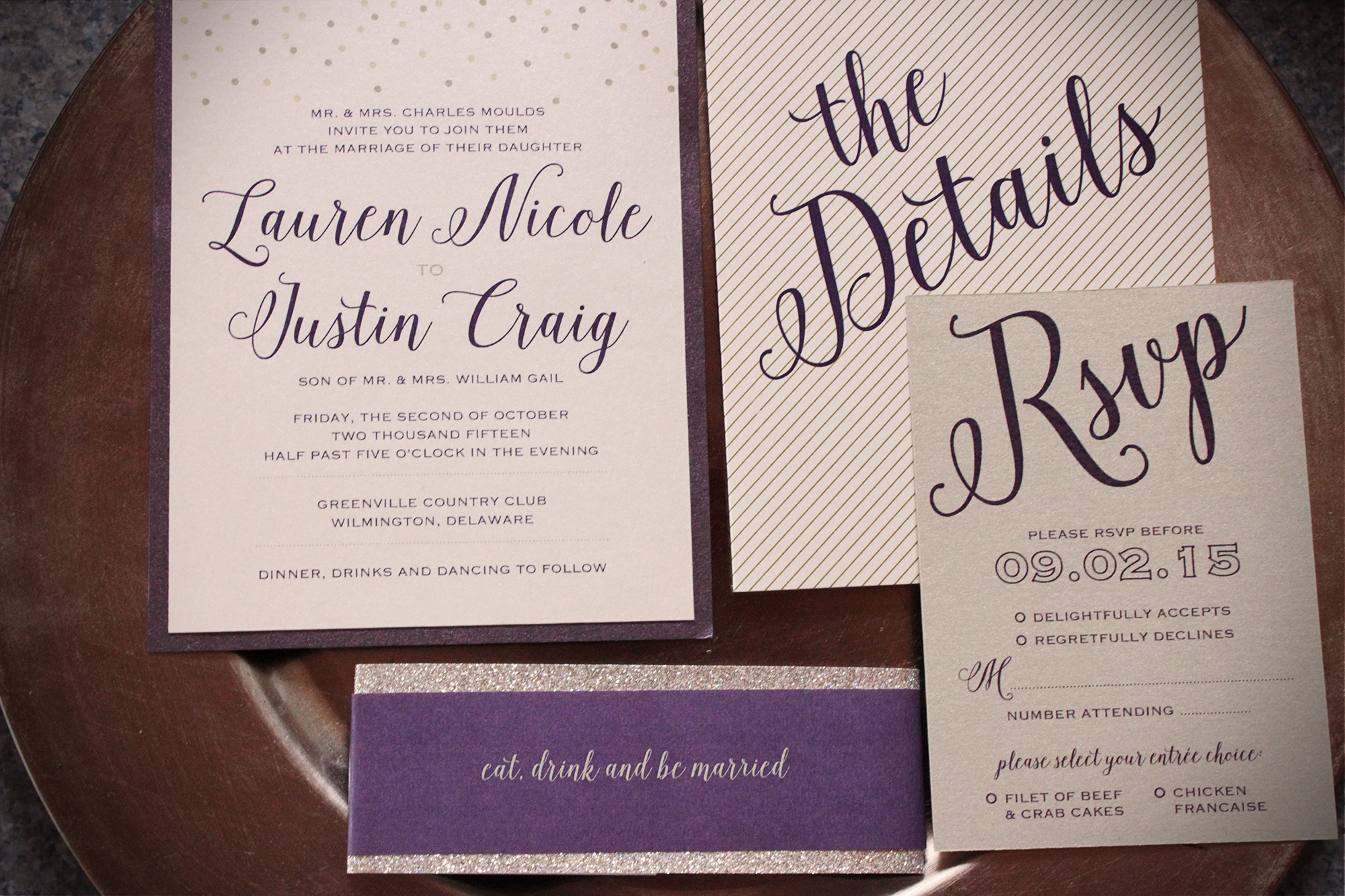This invitation suite is a little romantic, a little feminine with just the right amount of fun and their reception materials were no exception!