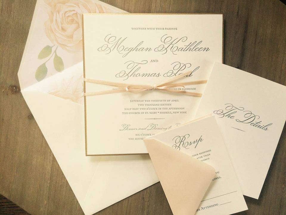 Delicate blush set the tone for Meghan and Thomas' formal affair.
