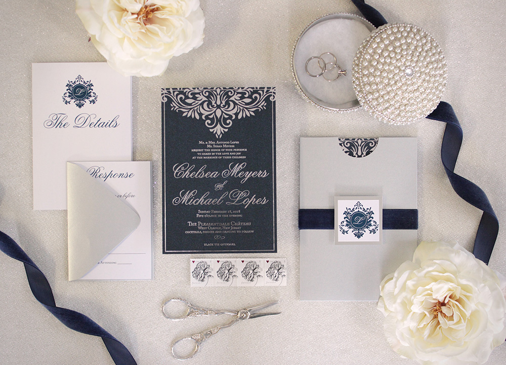 Elegant black and silver foil damask wedding invitations | Art Paper Scissors