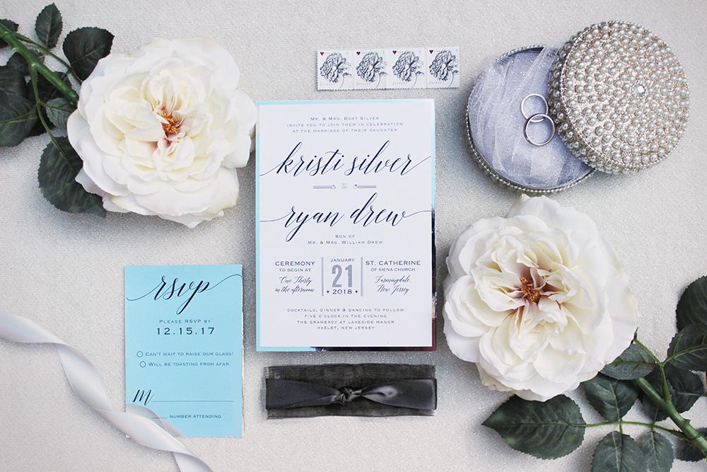 Silver foil winter wedding invitations | Art Paper Scissors