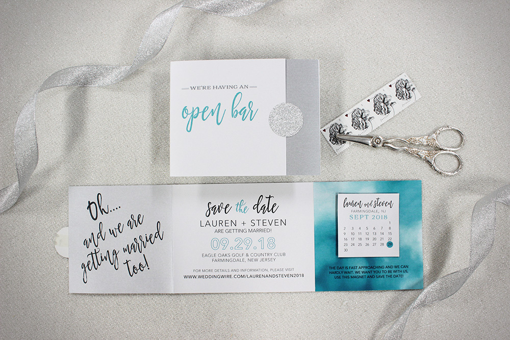 We love incorporating our clients' personalities into their gorgeous designs, like this cheeky watercolor save-the-date trifold with a takeaway calendar magnet!