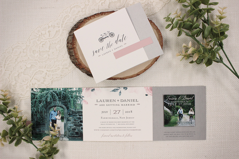 "We are in love with these sweet and romantic ""bicycle built for two"" inspired trifold save-the-dates, with a keepsake magnet."
