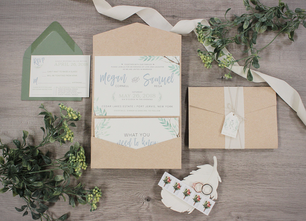 Nature-inspired watercolor greenery wedding invitation