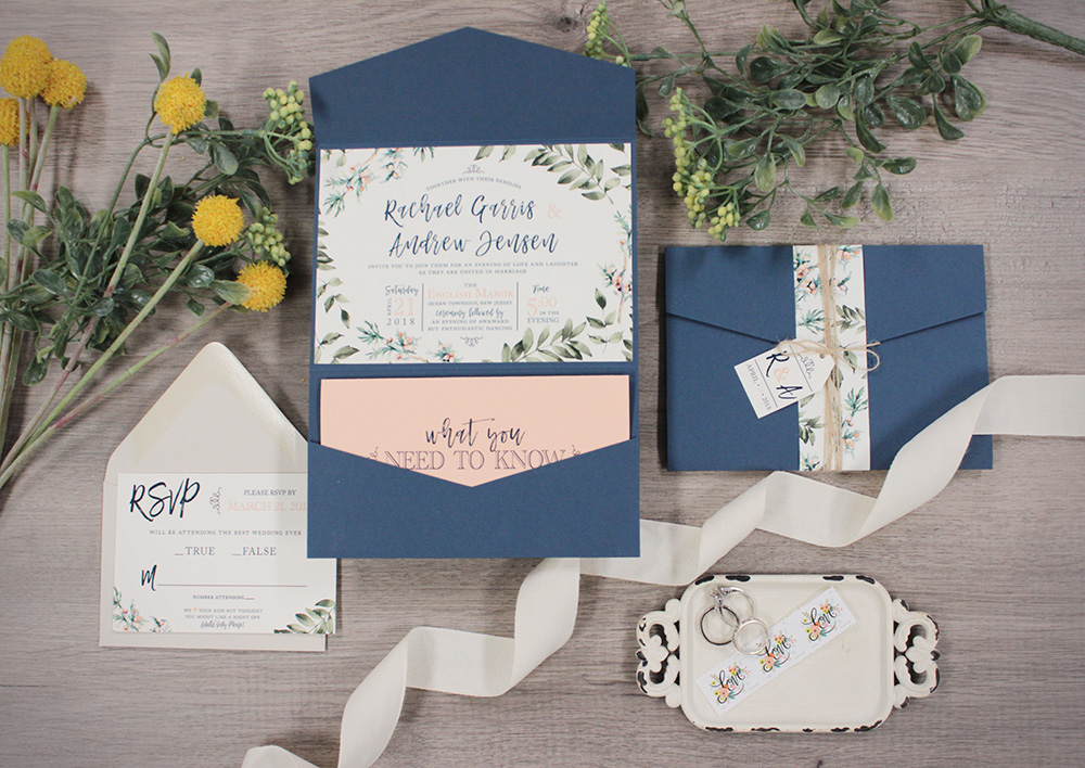 Spring navy and coral watercolor greenery wedding invitations