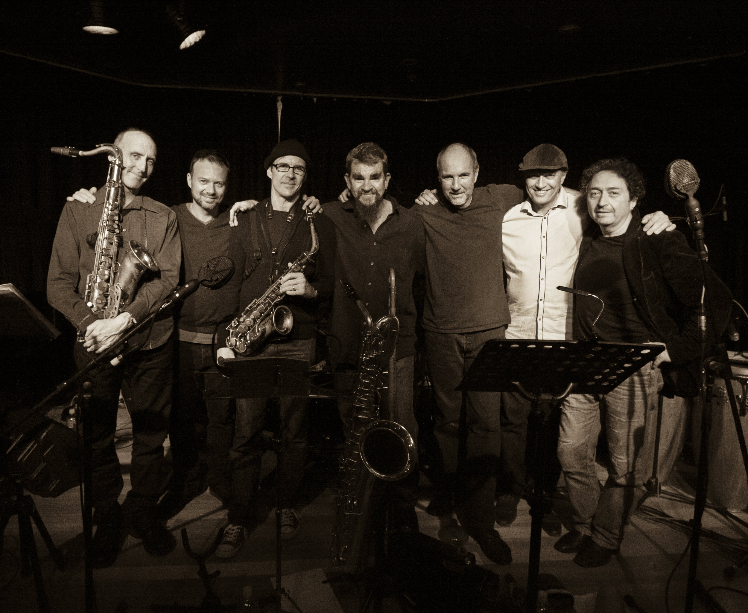 James Greening  - Trombone, Sousaphone and Pocket Trumpet   Andrew Robson  - Alto and Baritone Saxophone  Paul Cutlan  – Tenor Saxophone and Clarinet   Fabian Hevia  - Percussion   Gary Daley  - Accordion and Piano   Hamish Stuart  - Funky Drums  Brett Hirst  – Acoustic and Electric Bass