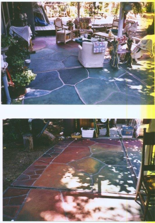 The homeowner of this backyard concrete patio could not tolerate plain gray concrete and had a strong aversion to having real flagstone installed knowing that debris would constantly collect in the mortared joints. The homeowner was also interested in having a very multi-colored surface that would be impossible to achieve with stone. The surface is flush, collecting no debris, and includes almost every color of the rainbow with the exception of pink and purple.