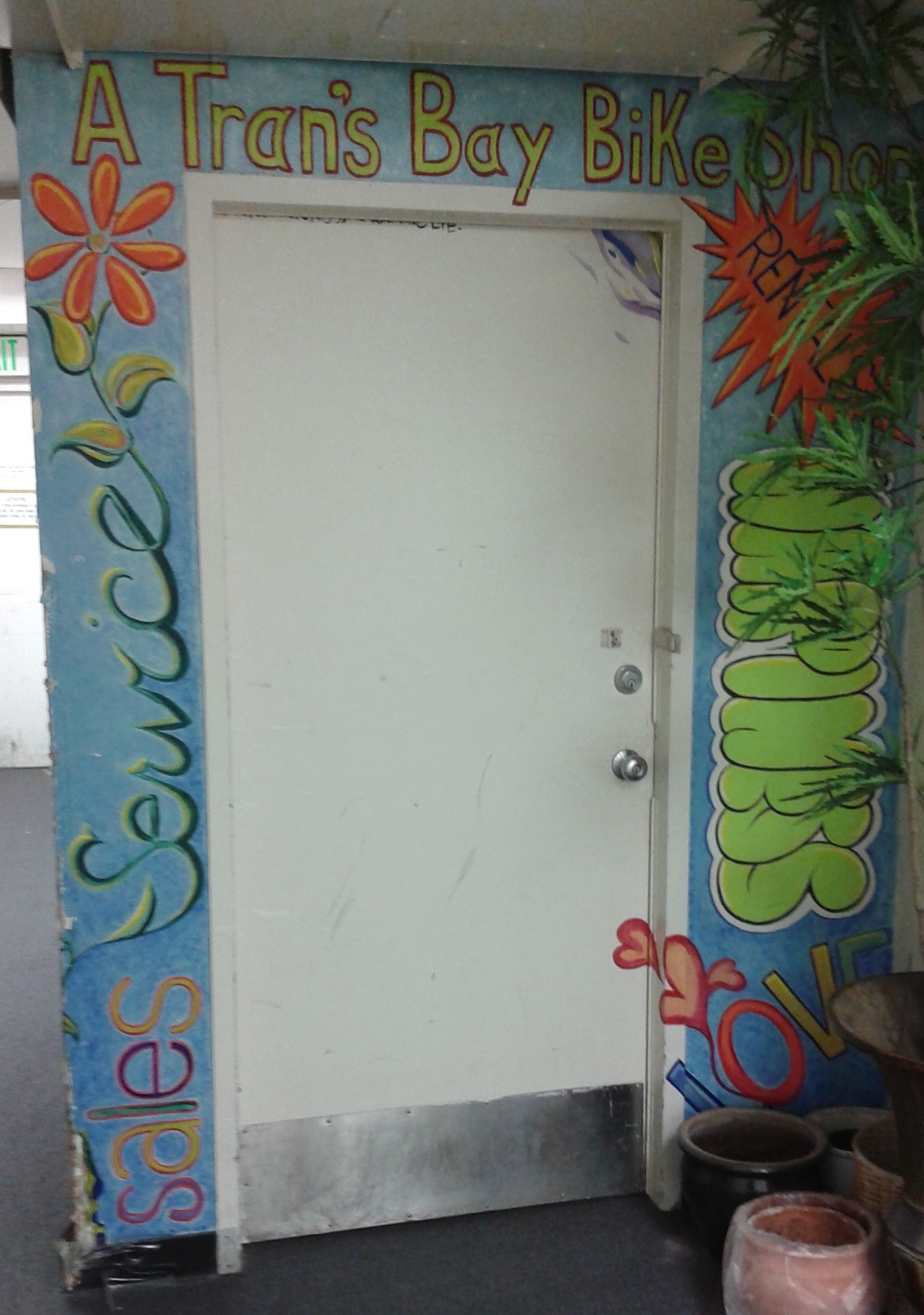 A Tran's Bay Bike Shop Back Door Custom Mural Entrance located on Treasure Island
