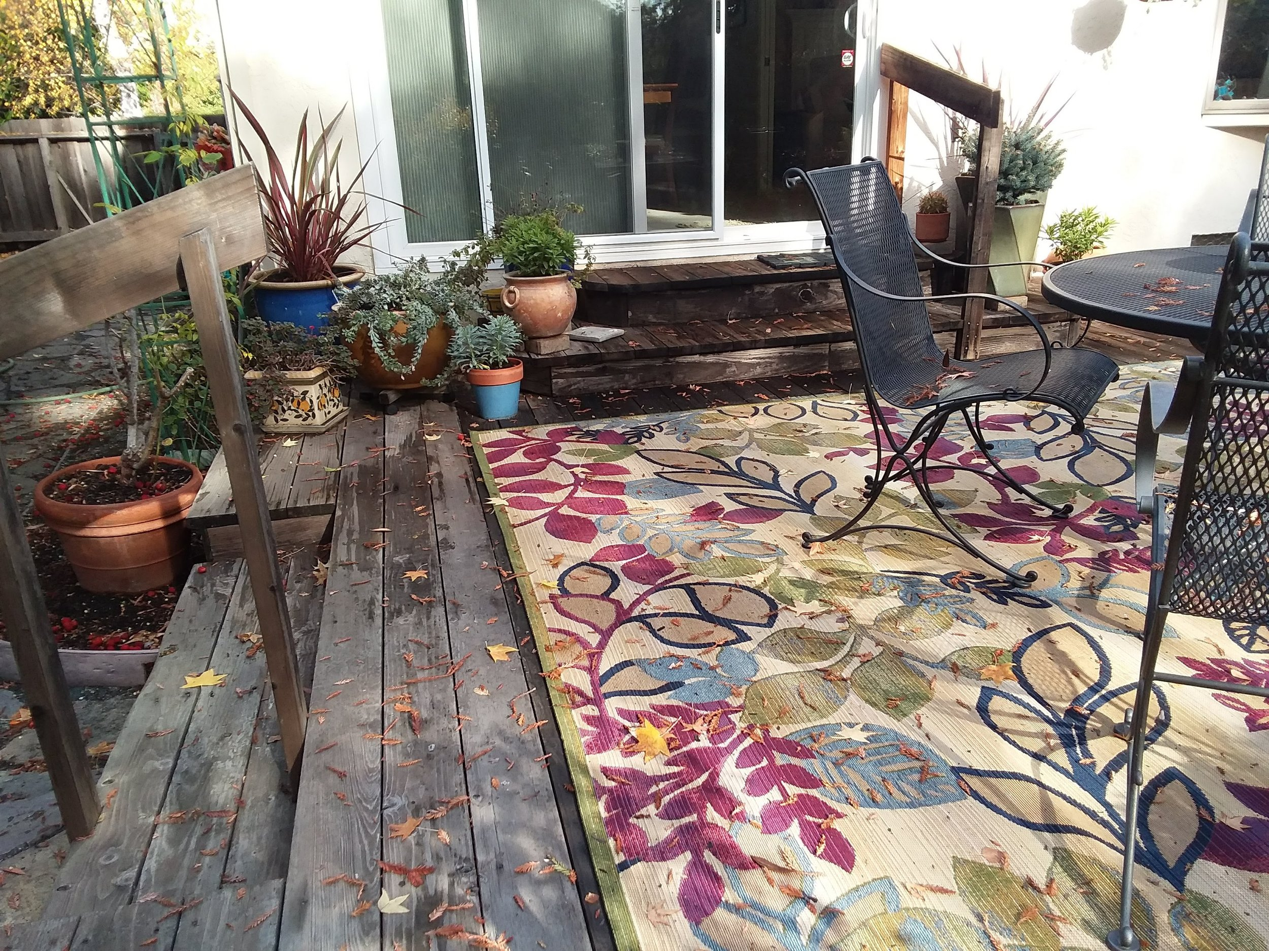 M'lou's back patio on Mon., Nov. 26, 2018 showing deck pots and area rug -2.jpg