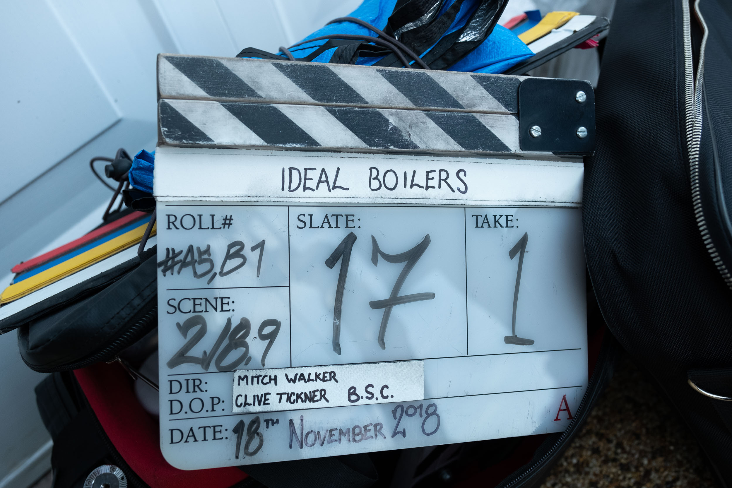 Clapper Board from Ideal Boilers commercial in Warrington, Manchester