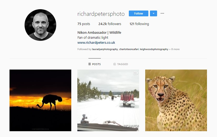 Click for  Richard Peter's Instagram