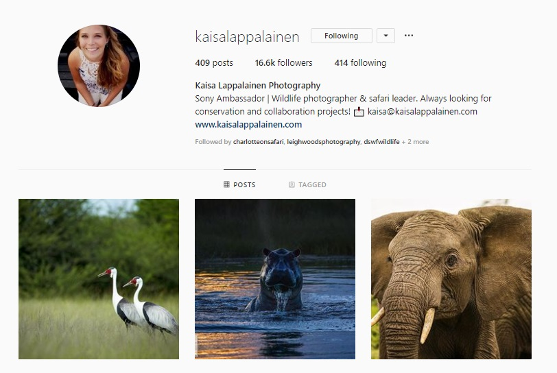 Click for  Kaisa Lappalainen's Instagram