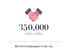 350,000 employees in the city