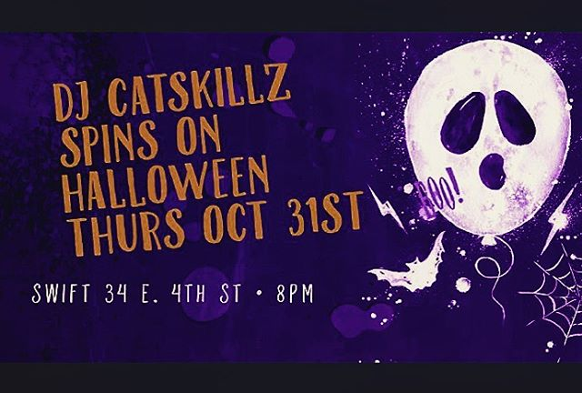 Thursday night with @catskillz on the ones and twos... #spookyseason #nychalloween #standforyournationalanthem #ghosttown