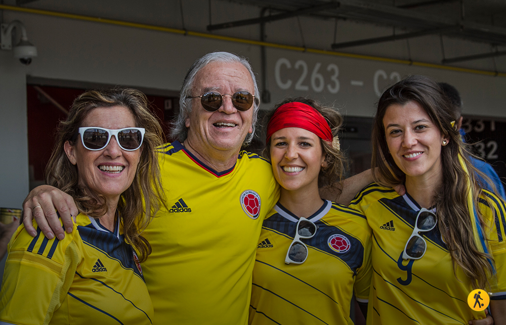 With my wife and daughters at the Estadio Mineirao in Belo Horizonte just before the Colombia vs Greece match