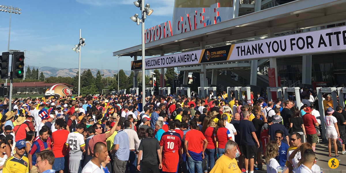 Arriving at the Levi's stadium for the inagural game between USA and Colombia.
