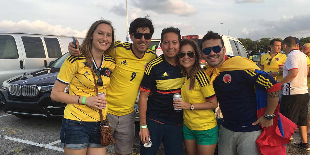Jorge and his wife Casey tailgating before the match.