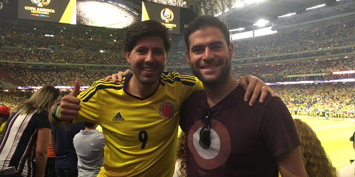 Jorge and backpacker friend Miguel Jiménez.