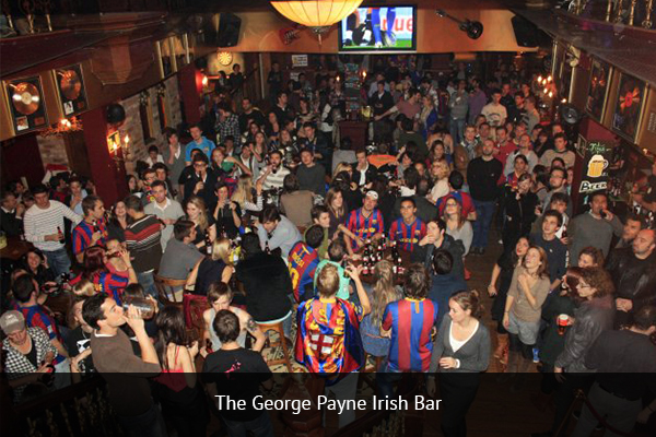 THE GEORGE PAYNE IRISH PUB |   +34 934 81 52 94   This is the biggest Irish bar in the entire city. They show all the Barcelona games, as well as all La Liga, BPL, and UCL games.   Address:  Plaça d'Urquinaona, 5, 08010