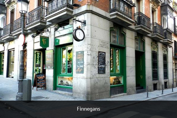 FINNEGANS |   +34 913 10 05 21   Finnegans is a typical Irish Pub located on Plaza de las Salesas. Finnegans shows live football matches and offers supporters a unique football atmosphere.   Address:  Plaza de las Salesas, 9, 28004