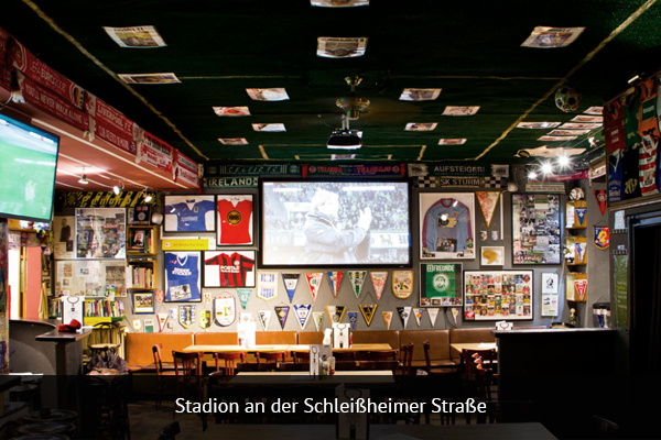 STADION AN DER SCHLEIBEIMERSTRABE   |   +49 89 529736   Stadion is a great place to watch any match. They have rows of seating with original Munich stadium seats in front of a large HD projector screen for prime viewing.   Address: Schleißheimer Straße 82, 80797