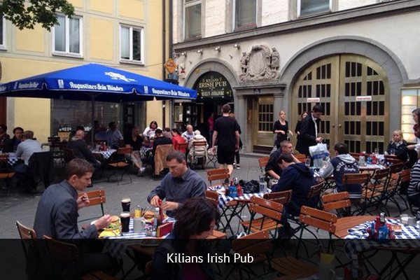KILIANS IRISH PUB |   +49 89 24219899      Cool social atmosphere, central location and super friendly staff. Good variety of beers, a great place to watch the Premier League.   Address: Frauenplatz 11, 80331