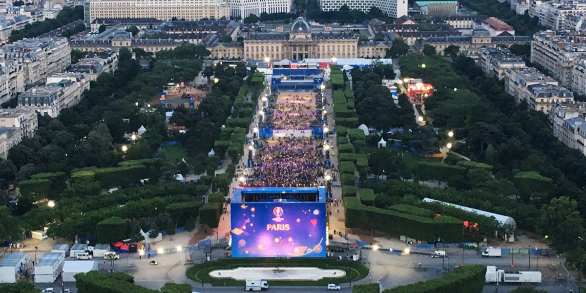 Awesome view of the Paris fan fest from the Eiffel Tower.