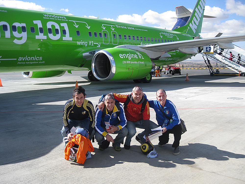 Llegando a Sudáfrica para el mundial del 2010.