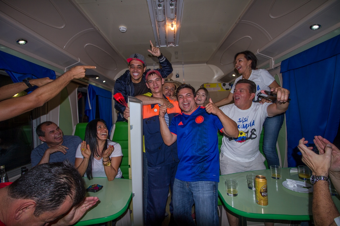 The admosphere on the train was amazing, everyboy was in a great mood before the match.