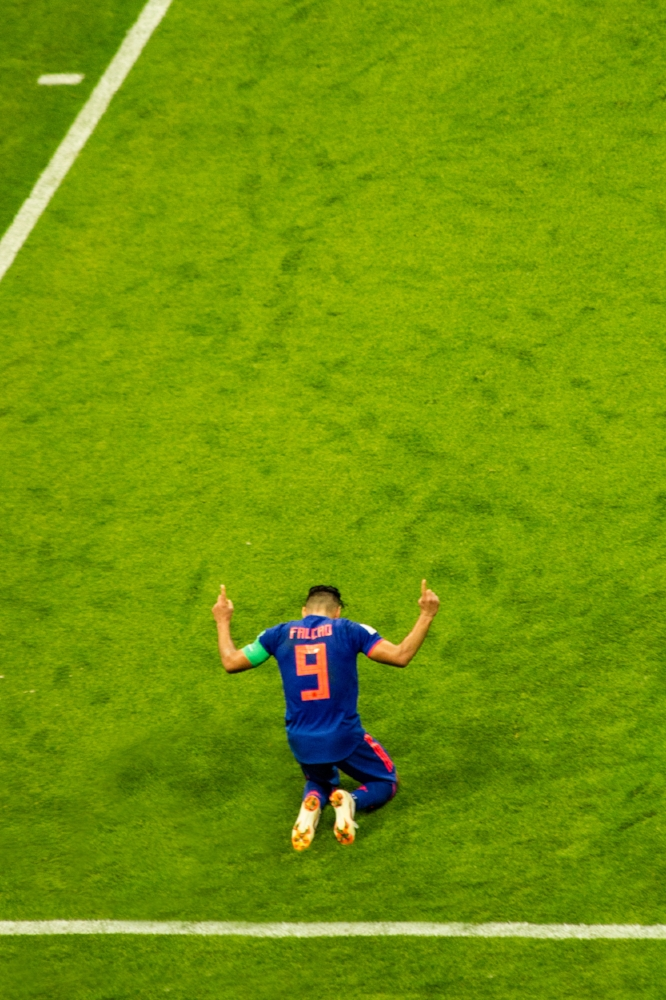 """A very special moment for """"El Tigre"""" Falcao, after scoring his first World Cup goal."""
