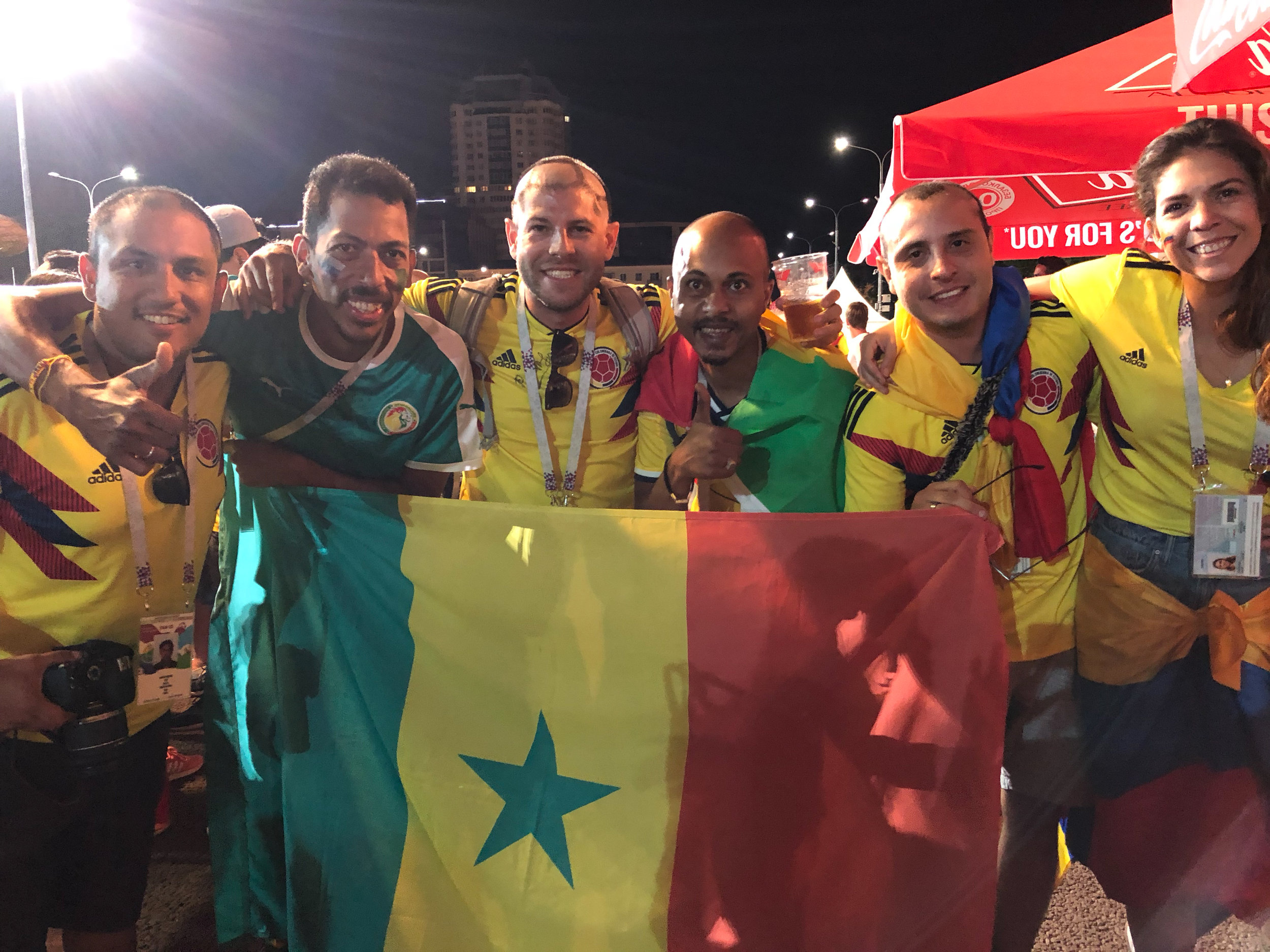 Despite the final score, the Senegalese fans were always in a good mood and taking pictures with all the Colombian fans.
