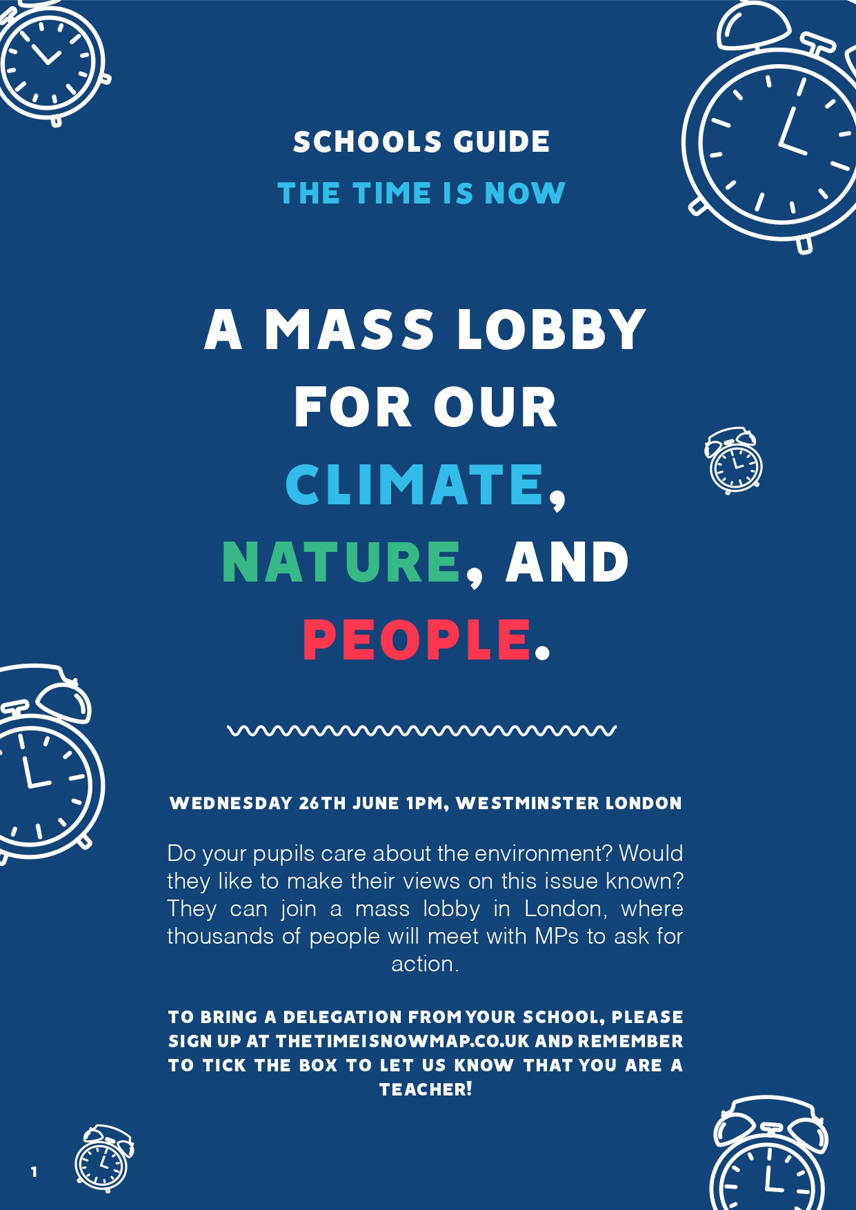 School Guide The Time Is Now: 26th June, a mass lobby for the climate, environment, and people