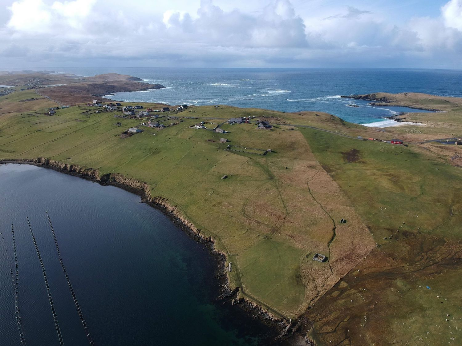 Our croft and neighbouring crofts. You can see the Meal Beach to the right hand side of the picture