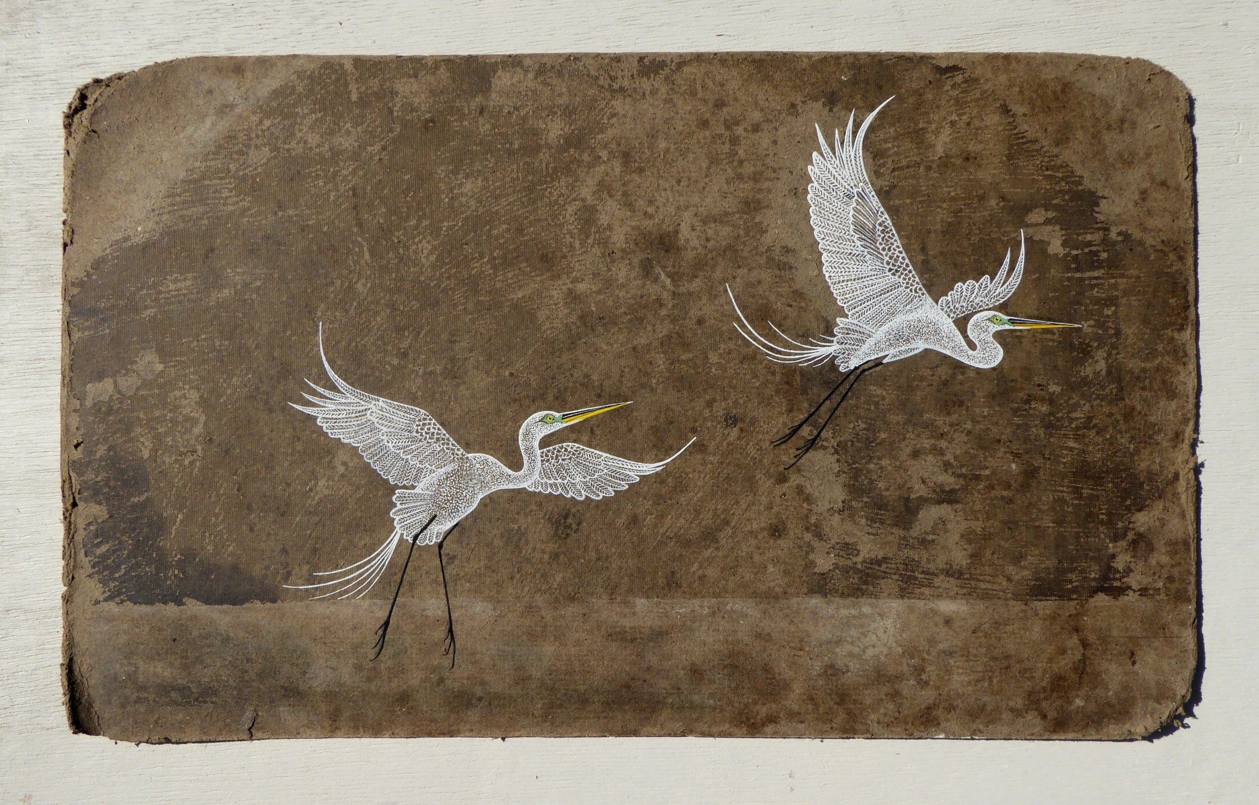 Egrets over the Water 48 x 28 cm