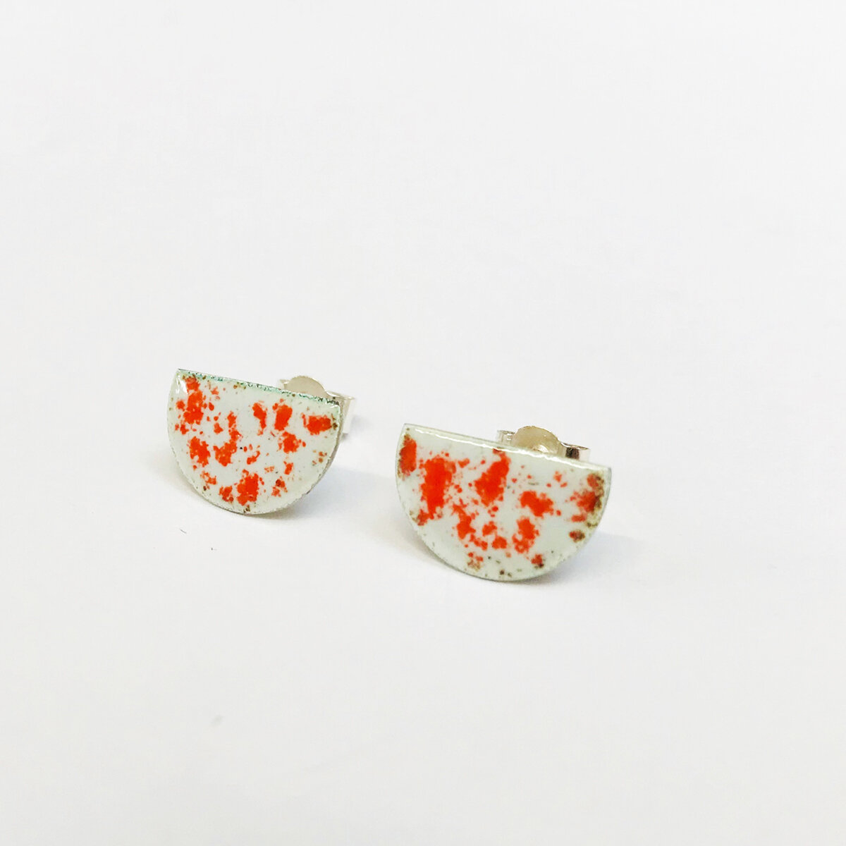 Orange Speckled Enamel Earrings.jpg